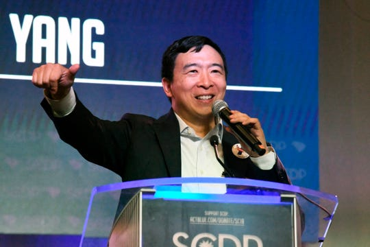 Businessman Andrew Yang addresses the South Carolina Democratic Party convention, Saturday, June 22, 2019 in Columbia, S.C.. (AP Photo/Meg Kinnard) ORG XMIT: RPMK303