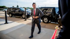 Acting Defense Secretary Mark Esper arrives at the Pentagon in Washington, Monday, June 24, 2019. (AP Photo/Andrew Harnik) ORG XMIT: DCAH107