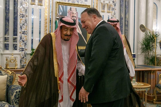 Saudi King Salman bin Abdulaziz welcomes Secretary of State Mike Pompeo to the city of Jeddah on June 24.