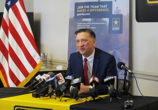 Staff Sgt. David Bellavia, of Lyndonville, N.Y., speaks at a news conference at an Army recruiting station in Cheektowaga, N.Y., Tuesday, June 11, 2019. (AP Photo/Carolyn Thompson) ORG XMIT: NYR101