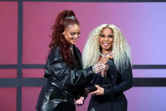 Rihanna presents the Lifetime Achievement Award to Mary J. Blige during the 2019 BET awards at Microsoft Theater Sunday.