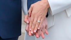 The original engagement ring with a gold band, photographed after the engagement announcement on Nov. 27, 2017.