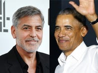 Barack Obama and George Clooney take a boat ride on Lake Como