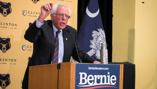 Sen. Bernie Sanders, a 2020 presidential candidate, addresses the crowd at a packed rally inside the gymnasium at Clinton College, a historically black college, before a rally in Rock Hill, South Carolina, on June, 22 2019.