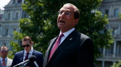 Secretary of Health and Human Services Alex Azar talks to reporters outside the White House, Monday, June 24, 2019, in Washington. (AP Photo/Evan Vucci) ORG XMIT: DCEV116