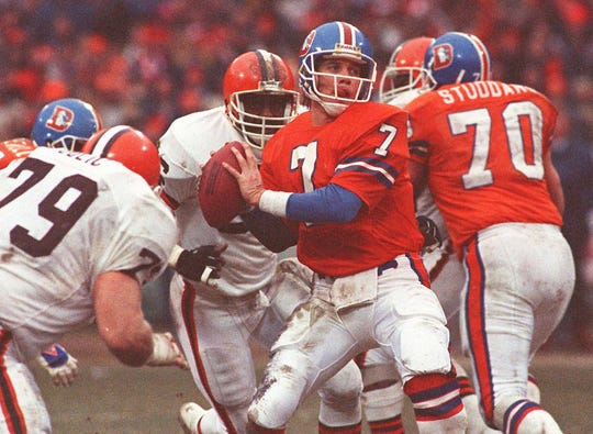 "John Elway leads the Broncos on ""The Drive"" during the 1986 AFC Championship Game."