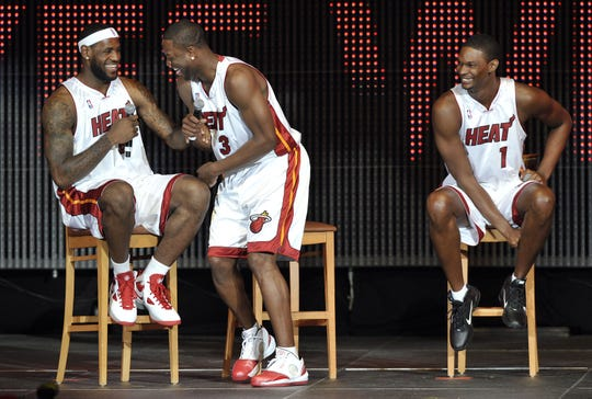 LeBron James, Dwyane Wade and Chris Bosh during a welcoming ceremony at American Airlines Arena in 2010.