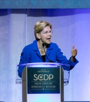 Democratic presidential candidate Elizabeth Warren speaks during the South Carolina Democratic Convention, Saturday, June 22, 2019 in Columbia, S.C..