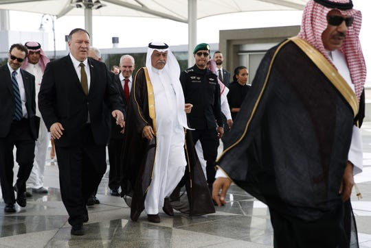 Secretary of State Mike Pompeo is welcomed by Saudi Foreign Minister Ibrahim Abdulaziz Al-Assaf upon his arrival in the Saudi Red Sea city of Jeddah on June 24, 2019.