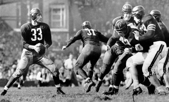 """Slingin'"" Sammy Baugh played a major role in the emergence of the passing game in the NFL."