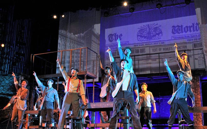 """The newsies are solid in their plan to go on strike against newspaper baron Joseph Pulitzer in this rehearsal scene form """"Newsies,"""" which will be performed three times this weekend at the Paramount Theatre."""