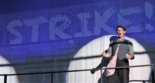 """Jack Kelly (Griffin Jones) encourages the troops - New York City's newsies - to stand up to Joseph Pulitzer and go on strike in the Paramount Theatre's production of """"Newsies"""" in June. It was the first time for the musical based on the 1992 Disney film to be on stage in Abilene."""