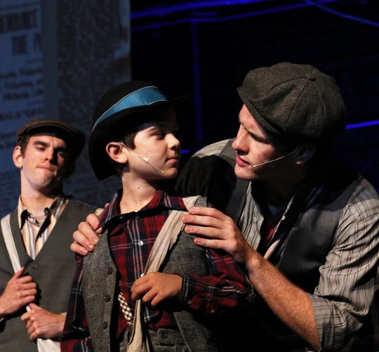 "Veteran newsie Jack Kelly (Griffin Jones, right) gives some advice to novice newsie Les (Phoenix Lowe) in this rehearsal scene from ""Newsies,"" which opens Friday at the Paramount Theatre."