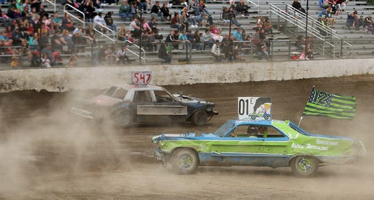 Dennis Trueax races his 01 car in the figure 8 during the Kitsap Destruction Derby at Thunderbird Stadium on Saturday, June 22, 2019.
