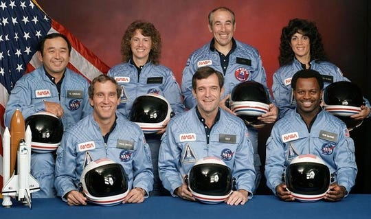 Crew members of Space Shuttle Challenger and Mission STS-51 were: back row; Mission Specialist Ellison S. Onizuka, from left, Teacher in Space participant Sharon Christa McAuliffe, Payload Specialist Greg Jarvis and Mission specialist Judith Resnik. In the front row are Pilot Mike Smith, from left, Commander Dick Scobee, and Mission Specialist Ron McNair. Challenger exploded shortly after liftoff on Jan. 28, 1986, killing all aboard.