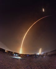 The launch of SpaceX Falcon Heavy Launched from Pad 39A at Kennedy Space Center 2:30 a.m. Tuesday morning.