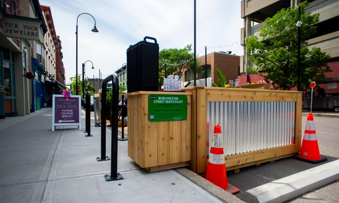 Throughout the summer, Burlington will be testing new seating arrangements like this one in front of El Cortijo on Bank Street in Burlington, VT, June 25, 2019.  The seating takes up public parking spaces throughout the city.