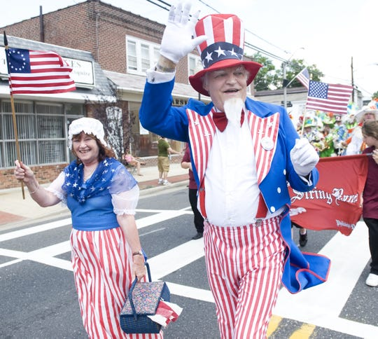 Joanne and Mike Geden of Maple Shade portray Betsy Ross and Uncle Sam during the 2009 Maple Shade Independence Day celebration. The couple has been participating in the parade for more than 20 years.