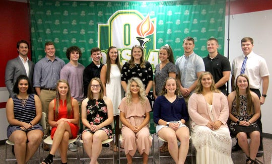 In conjunction with the Ohio High School Athletic Association, the Southeast District Athletic Board hosted its annual Scholar-Athlete Banquet on Monday, June 24, 2019 in Jackson. Pictured are the OHSAA/SEDAB Scholar-Athlete recipients that were present. Front row (L-R): Meliah Johnson (Chillicothe HS), Emma Conrad (Sheridan HS), Sophia Hagans (Wheelersburg HS), Sydney Mullins (Wellston HS), Kylie Sims (Peebles HS), Cameryn Alexander (Piketon HS), and Lyndee Spargur (Fairfield HS). Back row (L-R): Joel Lambiotte (Fairland HS), Evan Dahm (Wheelersburg HS), Samuel Holstein (South Webster HS), Conner Campbell (West Union HS), Jensen Warnock (Clay HS), Denise Young (Waterford HS), Clara Hash (Notre Dame HS), Peyten Stephens (Waterford HS), Justin McClelland (Gallia Academy HS), and Elias Dresbach (Southeastern HS). Unable to attend:  Brandtson Duffie (Fairfield HS), Sylvie Wilson (Athens HS), Sydnie Jenkins (Northwest HS), Nathan Harmon (Dawson-Bryant HS), Tanner Kimbler (Green HS), Luke Lindamood (Minford HS), Matt Humphreys (Jackson HS), Hunter Gilbert (Belpre HS), and Cobe Marquez (Waverly HS)