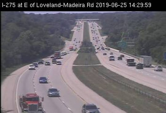 Interstate-275 at the Loveland-Madeira Road exit. Slippage area of I-275 is out of view from this camera.