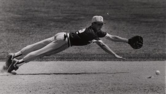 JUNE 1, 1991: Fairfield shortstop Chris Williams dives but can't get a shot up the middle. Fairfield won 1-0.