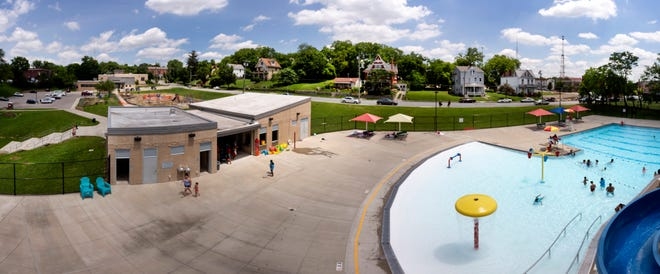 A panorama view of the Price Hill Recreation Center and the Dempsey Aquatic Center.