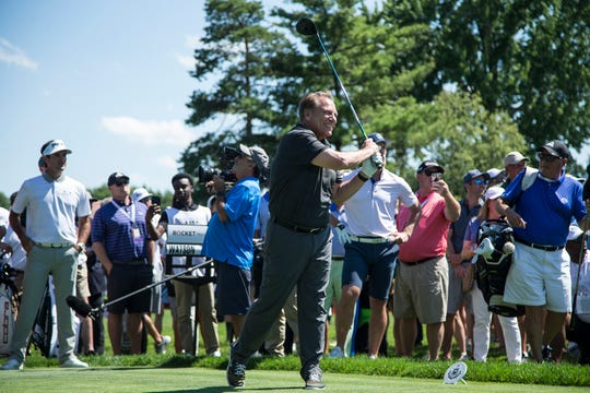 Tom Izzo tees off for the 14th hole during the AREA 313 Celebrity Challenge of the Rocket Mortgage Classic at Detroit Golf Club in Detroit, Tuesday, June 25, 2019.