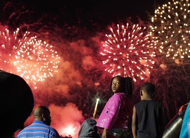 Madison Davis of Detroit watched fireworks during the 2019 Ford Fireworks at ?Hart Plaza? in downtown Detroit on Monday, June 24, 2019.
