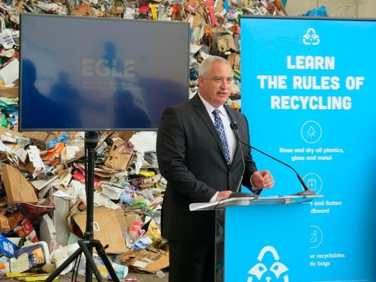 Jack Schinderle, materials management division director for the Michigan Department of Environment, Great Lakes and Energy, announces a $2 million recycling educational campaign on Monday, June 24, 2019, at the Lansing Recycling Transfer Station in Lansing, Mich. Officials are trying to double the state's low recycling rate, from 15% to 30%, by 2025.