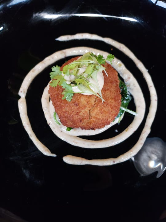 The crab cake from Table No. 2 on Detroit's Avenue of Fashion.