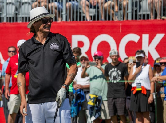 Kid Rock looks on at his drive to the 15th green during the Area 313 Celebrity Challenge during the Rocket Mortgage Classic, held in June at the Detroit Golf Club.