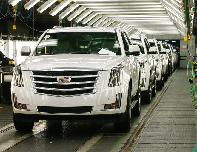 Cadillac Escalade vehicles roll off the assembly line Tuesday, June 25, 2019 as General Motors announces it is investing an additional $20 million at Arlington Assembly to upgrade plant conveyors in preparation for the launch of GM's all-new full-size SUVs.