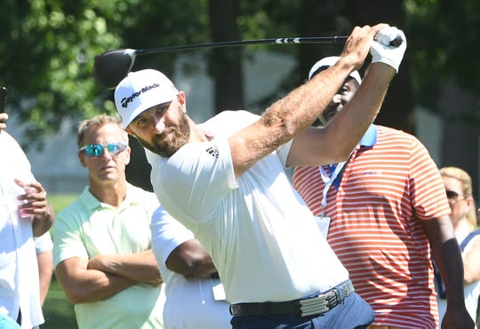 Dustin Johnson participates in the 2019 celebrity challenge at Detroit Golf Club.