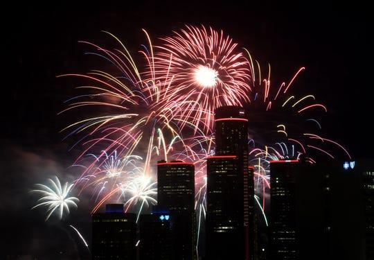 The Ford Fireworks burst over downtown Detroit on June 24, 2019.