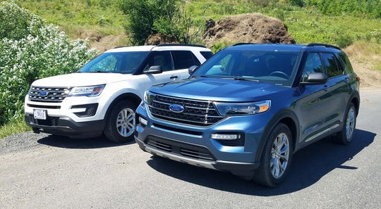 The 2020 Ford Explorer (right) loses 200 pounds over the last gen ute (left) but looks jowlier in the front with a less lean design. Overall, though, the new Ford benefits from its rear-wheel-drive-based drivetrain.