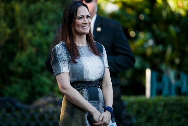 Stephanie Grisham, spokeswoman for first lady Melania Trump, attends the annual Congressional Picnic on the South Lawn, Friday, June 21, 2019, in Washington. Melania Trump has announced that Grisham will be the new White House press secretary on Tuesday, June 25, 2019.