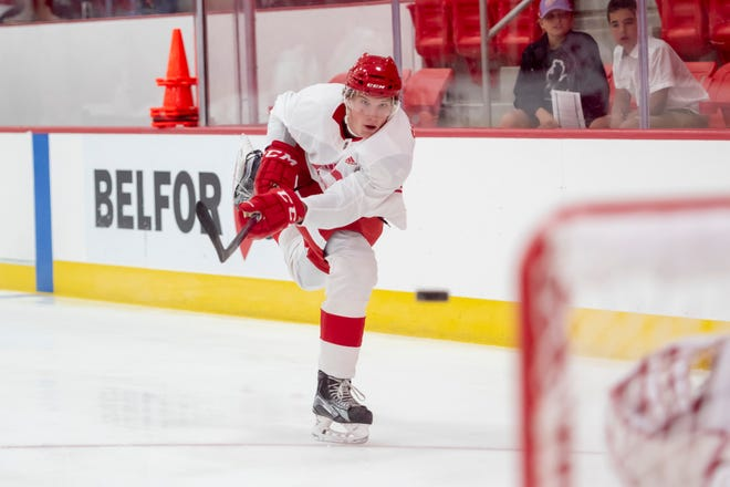 Left wing Elmer Soderblom shoots the puck during the Red Wings development camp.