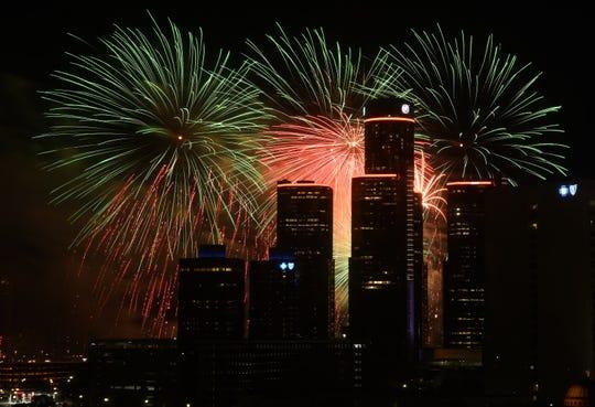 The Ford Fireworks burst over downtown Detroit on June 24, 2019.  (Robin Buckson / The Detroit News)