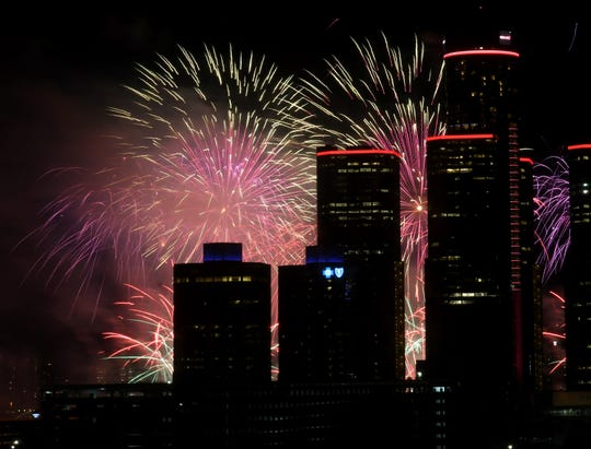 The Ford Fireworks burst over downtown.