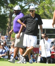 Jerome Bettis and Kid Rock on the 15th green.