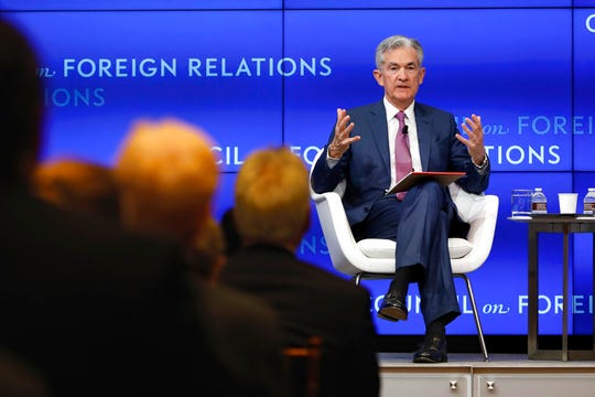 Federal Reserve Chair Jerome Powell speaks on the economy outlook and monetary policy review at the Council on Foreign Relations, in New York, Tuesday, June 25, 2019.