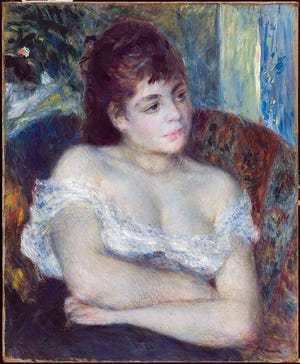 """Pierre-Auguste Renoir painted """"Woman in an Armchair"""" in 1874,  one of the DIA works in the museum's """"Humble and Human."""""""