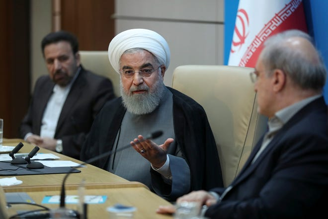 In this photo released by the official website of the office of the Iranian Presidency, President Hassan Rouhani speaks in a meeting with Health Ministry officials, in Tehran, Iran, Tuesday, June 25, 2019.