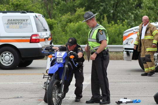 The Fremont Post of the Ohio Highway Patrol removed a motorcycle from Ohio 53 following a two-vehicle crash Monday.