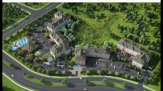 Rendering of upcoming apartment complex at intersection of Winkler Avenue and Schoolhouse Road in Fort Myers.