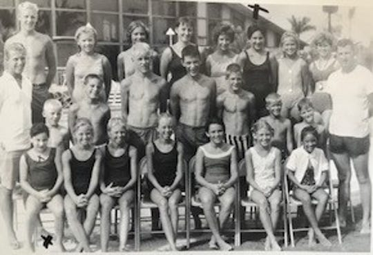 Cape Coral swim team, early 1960s. Gloria Raso, gold medal winner at the Fourth of July, 1962, championship meet, is in the back row in black swim suit.