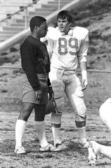 Woody McCorvey, left, with player Danny Pearman of Clemson in 1987. McCorvey worked seven years at Clemson University, 1983 to 1989. With McCorvey coaching the tight ends from 1983-85 and the wide receivers from 1986-89, Clemson posted a 60-19-3 overall record and won three ACC Championships, according to Clemson athletics.