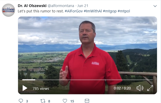 Dr. Al Olszewski takes to Twitter on Friday to reiterate he is running for governor.