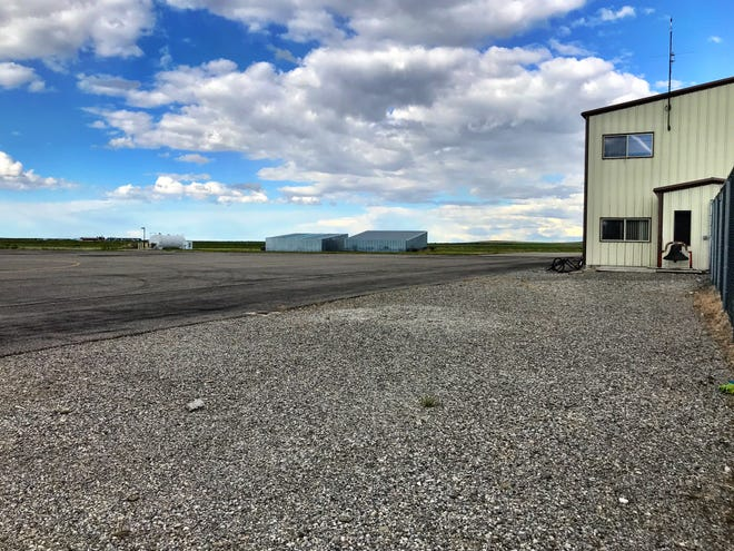 The Choteau Airport is on a hill above the town.