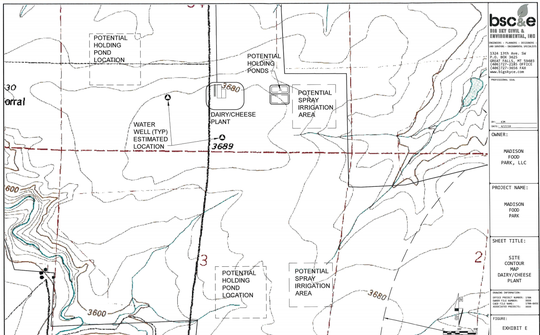 This map shows the proposed layout of a cheese processing facility located on land owned by Madison Food Park east of Great Falls.